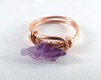 Raw Amethyst Wire Wrapped Ring Rose Gold