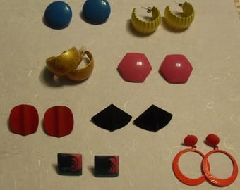 Lot of 8 Pairs of 1980s Earrings Stud Style Preworn
