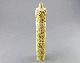 Antique Needle Case Chinese Carved Bone Case With Sewing Notions Asain Arts And Craft Antiques Collectibles