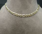Vintage 9ct Yellow Gold Figaro Link Necklace Chain
