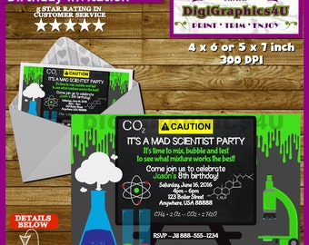 Mad Scientist Invitation and/or Birthday Party Package - Printable File