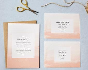 Peach ombre wedding invites