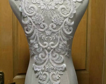 1pc Super Luxury Bead Pearl Lace Appliques Cotton Ivory Exquisite Lace Applique For Wedding Dress Grown Bridal Veil Bodice