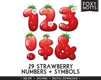 Strawberry Numbers & Symbols Clip Art Font: Digital Download, Fruit, Clipart, Scrapbooking, Printable, Graphics, Large