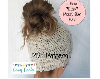 Messy Bun Hat Pattern, Messy Bun Beanie Pattern, Ponytail Hat Pattern, Crochet, Hats for Ponytails, Winter Hat Pattern, Messy Bun Crochet