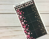 Elegant Dark full boxes, checklists sticker sheet *High-quality Glossy / Matte * Vertical Erin Condren Life Planner (ECLP) & RECOLLECTIONS