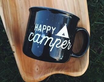 Happy Camper // 15 oz coffee cup // Campfire Mug