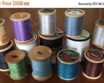 CIJ Thread 14 Spools 12 wooden Spools Assorted Colors Brands 12 Wooden American Thread Co Vintage