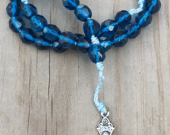 Aqua Glass Bead & Cord Rosary