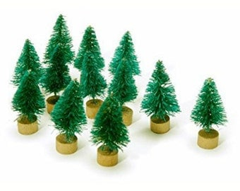 Green Bottle Brush Trees -Christmas decoration -1 inch -set of 12 *Craft Supplies *Sisal Tree *Miniature Trees *Christmas Village *DIY Craft