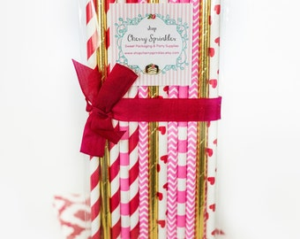 SWEET VALENTINE -Pink and Red decor -Gold Straws *Valentines Day *Paper Straws -Pink Straws -Hot Pink Straws -Heart Straws -Red Straws *GOLD