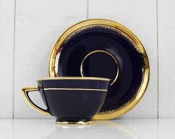 Vintage Cup and Saucer Navy and Gold Decor, Antique Tea Cups, Vintage Tea Cup and Saucer, Antique Cups, Mid Century Modern Tea Set - E317