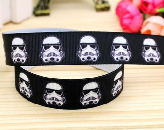 "7/8"" STAR WARS Storm Troopers printed grosgrain ribbon 3, 5, 10 or 25 yards"