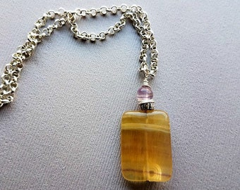 yellow fluorite pendant necklace-fluorite sterling silver necklace-fluorite necklaces-purple fluoritenecklaces-yellow and green stone