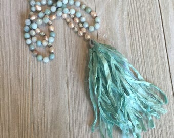 """Hand knotted green sari silk neckkace~green agate~freah water pearls~ethiopian opals~pave spacers 46"""""""