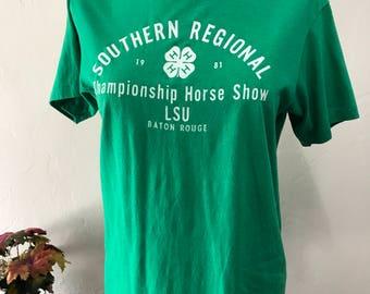 4 H Southern Regional Championship Horse Show T-Shirt - LSU Baton Rouge T-Shirt - 80's 4 H T-Shirt