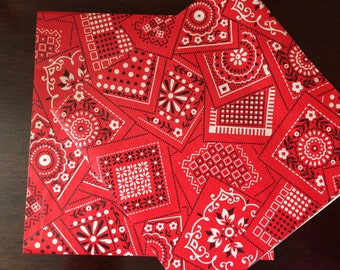 1970s Red Bandana Western Gift Wrap Paper