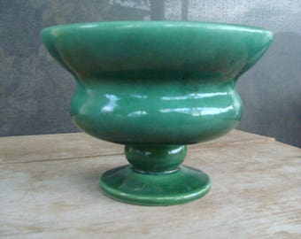 Vintage American Art Pottery Shawnee Or Haeger Footed Jardiniere Planter Flower Pot In Green Gloss Glaze