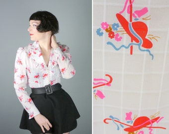 HAT print 60s 70s frilly blouse with ruffled collar and PEARLY buttons - red CONVETSATIONAL novelty print shirt top - M
