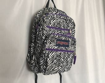 Zebra Backpack Jansport Vintage Zipper School Bag Bookbag Black White Animal Print