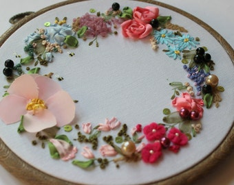 Embroidered art. Nature embroidery. Silk ribbon embroidery. Gift for her. Wall decor. affordable art. Mothers day.