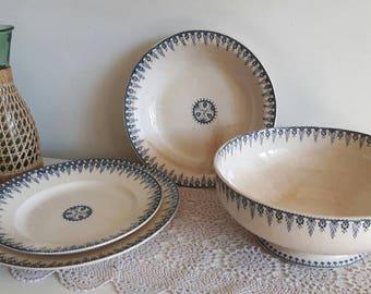 Sarreguemines Digoin tranferware set plates and bowl