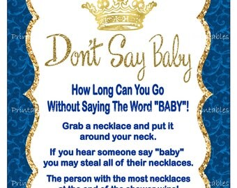 Prince Don't Say Baby Game, Printable Prince Baby Shower Clothespin Game Sign, Prince Necklace Pacifier Game - Printables 4 Less 0112