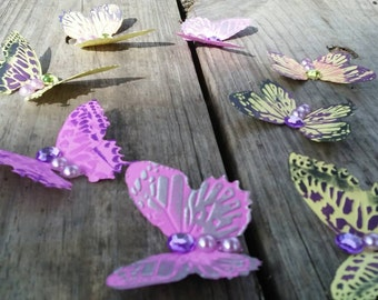 Beautiful butterfly decals, 3D, embossed, and hand-painted set of 10 butterflies purple, pink, yellow, silver