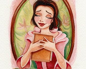 "ORIGINAL Belle 4x4"" Watercolor Painting."