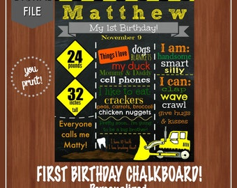 Yellow Construction Birthday Chalkboard - 1st Birthday - Bob The Builder - Little Digger - My First Birthday - Baby Boy - 1st Birthday
