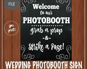 Wedding Photobooth Sign - Photo Booth Sign - Grab a Prop - Strike a Pose - Wedding Decor - Photobooth Decor - Instant Download - 8x10, 11x14