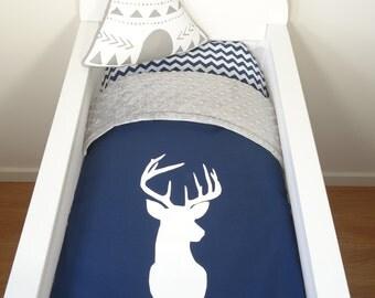 Bassinet set - Navy and grey deer