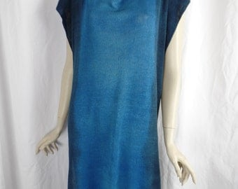vintage CHRZASZCZ ombre color fade turquoise to indigo linen tunic sweater/ high side slits/dip dyed/lagenlook: one size