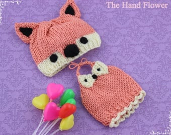 Handmade knitted fox Dress set for blythe.