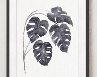 Monstera Leaf Botanical Kitchen Decoration, Plant Art Print Living Room Illustration, Minimalist Grey Leaves Tropical Palm Watercolor Poster