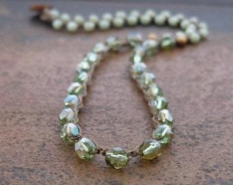 Green Beaded Crochet Boho Necklace, boho green necklace, green knotted necklace, boho hippie chic necklace by Boho and Indigo