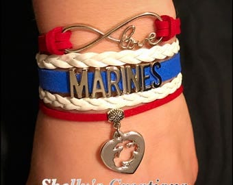 Marines- Leather bracelet - red white and blue. Eternity love, marines, Pick- bottom charm.