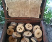 Viking Runes - Maple Runes - Wooden Runes - Elder Futhark Runes - Rune Set, Hessian Bag, Box