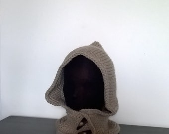Cowl neck wool//winter/Accessory/beige wool Cap//Loom Knitting//