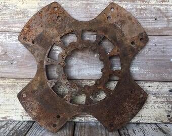 """Large Steel Metal Pulley Gear Wheel Industrial Steampunk Flywheel Decor 15.25"""""""