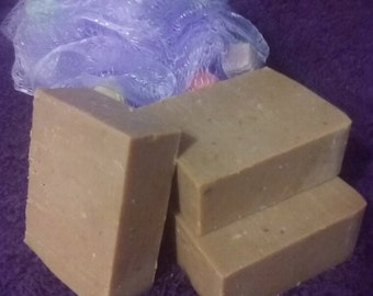 Farmhand Breakfast all natural exfoliating handcut bar soap with egg yolk and bacon