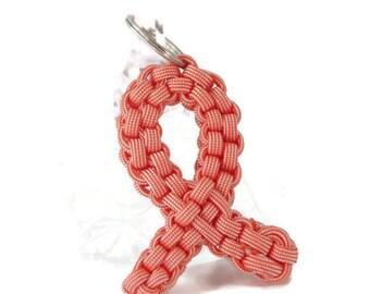 Peach Awareness Ribbon, Peach Ribbon, Awareness Ribbon, Awareness Keychain, Uterine Cancer, Cancer Awareness, Cancer Ribbon, Peach Keychain