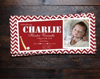 Sports Chevron Baby Boy Birth Announcements