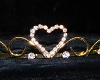 Style # 14687G - Sweet Heart Wire Tiara - Gold Plated