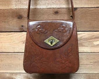 Vintage Tooled Leather Crossbody Bag Vtg Handcrafted Brown Leather Saddle Satchel Purse