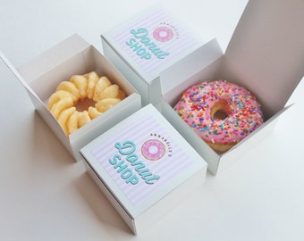 Dozen Donut Favor Boxes - Single Donut Box - Donut Shop Party treat Box - sprinkle donuts stripes