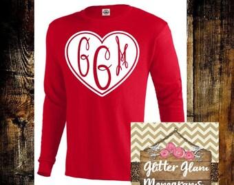Valentine Monogram Shirt-Long Sleeve Monogram Shirt-Valentines Day Shirt-Valentine Tshirt-Monogram Tshirt-Custom Gift-Mothers Gift-Wife Gift