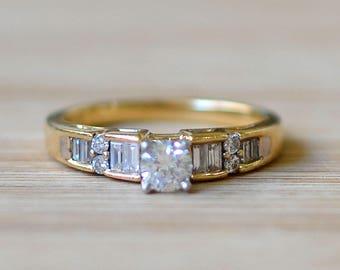 Multi Diamond Engagement Ring - Yellow Gold Engagement Ring - Size 7  Ring - April Birthstone Ring - Vintage Engagement Ring