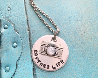 Inspirational Camera Necklace, Hand Stamped Photography Necklace, Photography Gift, Gift For Her, Womens Jewelry, Inspirational Jewelry