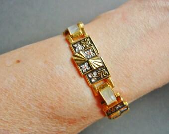 Vintage damascene mother of pearl bracelet, gold engraved damascene bracelet, gold embossed damascene bracelet, chinese export bracelet